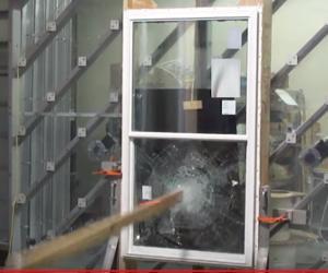 Large missile impact test for hurricane window